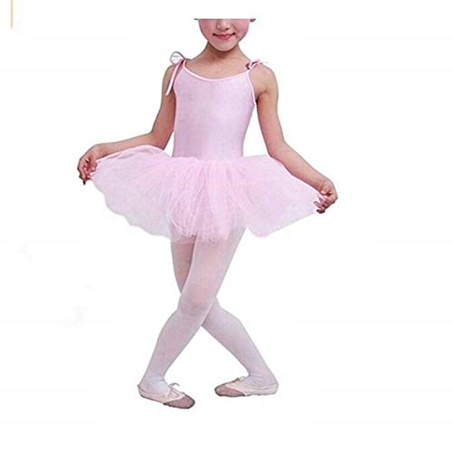 KIRALOVE Tutu dla dziewcząt na balet - różowy - body balerina dziewczyna - balet - regulowane szelki - spódnica - 3 nitki tiul - rozmiar 140 - spódnica do tańca dla dziewczynek króliczek