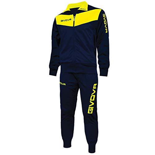 menitashop Tuta GIVOVA Uomo Donna Visa Fitness Calcio Blu Nero Bianco Giallo Rosso (Blu/Giallo, L)