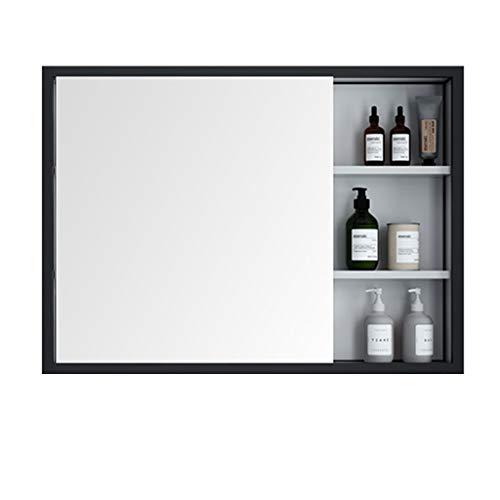 Armoire de Toilette à Une Porte Armoire à Pharmacie de Salle de Bain Armoire de Rangement cosmétique Encastré ou Montage en Surface (Color : Black, Size : 70 * 12 * 70cm)