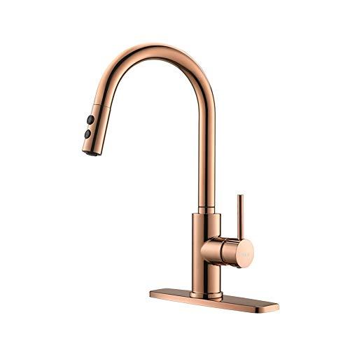 Copper Rose Gold Kitchen Faucet, Kitchen Sink Faucet, Sink Faucet, Pull-Down Kitchen Faucets, Bar Kitchen Faucet, RV Kitchen Faucet, RULIA-RB1025
