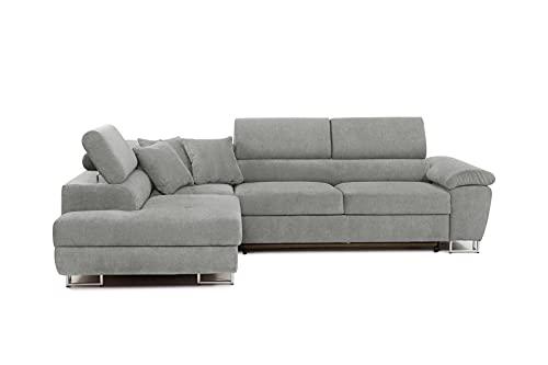 Honeypot - Sofa - Anton - Storage - sofa bed - Black/grey - White/grey - All grey - Faux leather/fabric (All Grey, Left hand corner)
