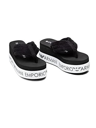 Emporio Armani Swimwear Flip Flop Light Logo, Ciabatte Infradito Donna, Nero Bianco Nero, 37 EU