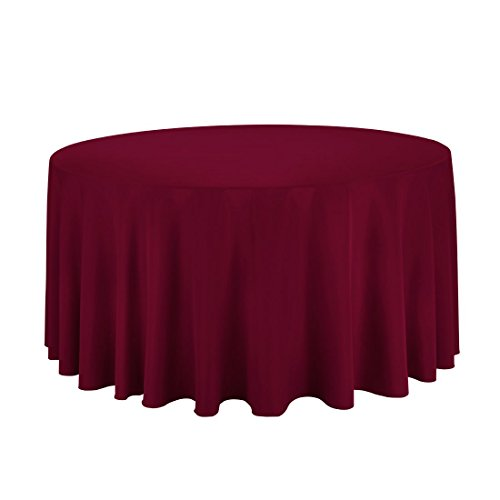 "Gee Di Moda Tablecloth - 120"" Inch Round Tablecloths for Circular Table Cover in Burgundy Washable Polyester - Great for Buffet Table, Parties, Holiday Dinner & More"