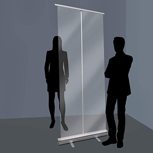 Divisorio trasparente da terra | Barriera rollup parete divisoria trasparente da terra per distanza di sicurezza, 85x200 cm COV-ROLL085