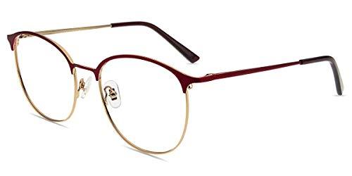 Firmoo Blaulichtfilter Brille Entspiegelt ohne Sehstärke Damen, Herren Browline Blaulicht Computerbrille Anti Kopfschmerzen Augenschutz, Blaulicht UV Schutzbrille für Bildschirme, Brille Metall Rot