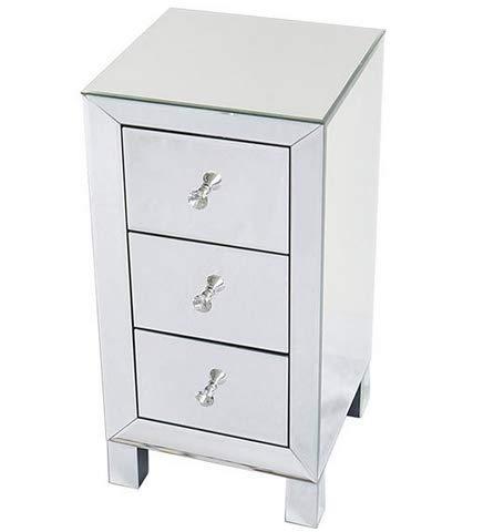 Moderner und zeitgemäßer verspiegelter Nachttisch mit 3 Schubladen