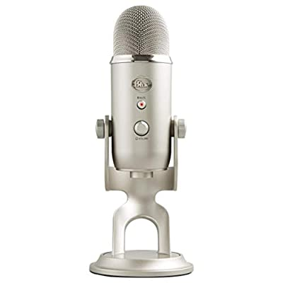Blue Yeti USB Mic for Recording & Streaming on PC and Mac, 3 Condenser Capsules, 4 Pickup Patterns, Headphone Output, Volume Control, Mic Gain Control, Adjustable Stand