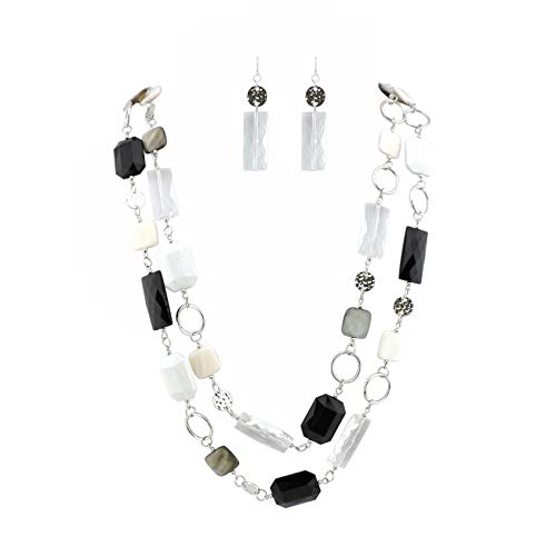 Bocar 2 Long Fashion Strand Chain Statement Beaded Women 36' Necklace Earrings Set (NK-10468) (White)