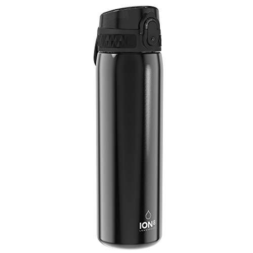 Ion8 Acero Inoxidable Botella Agua, Sin Fugas, Negro, 600ml