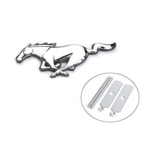 Rose flower LANLAN 3D Horse ABS Car Logo Fit Ford Mustang Neue Mondeo Fokus Auto Vorderkäppchen Grill 3D Stereo Standard Dekoration Zubehör LANLAN (Color : Silver)