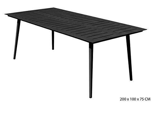 PEGANE Table rectangulaire en Aluminium Coloris Anthracite - 200 x 100 x 75 cm