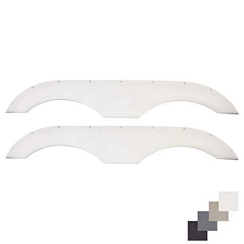 Alpha Systems Pair of Tandem Trailer Fender Skirt in White for RVs, Campers and Trailers