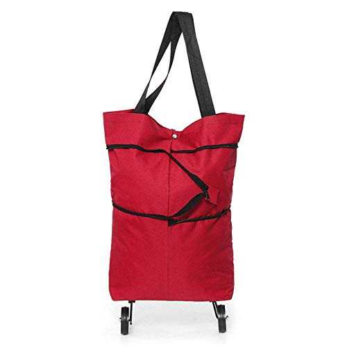 DHTOMC Faltbarer Einkaufstrolley, wiederverwendbare Einkaufstaschen, Trolley mit Rädern, faltbare Handtasche zum Einkaufen und Reisen (Größe: 40 x 45 cm, Farbe: Rot)