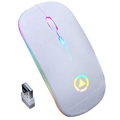 Ratón Óptico Inalámbrico de 2 4G Ratón RGB Recargable USB con Luces LED Coloridas para Ordenador Ordenador Portátil Ordenador