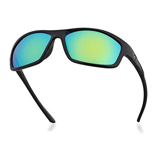 Óculos de sol Bnus Corning com lentes de vidro para homens e mulheres, opção polarizada fabricada na Itália., Black/Green Mirrored, 63mm
