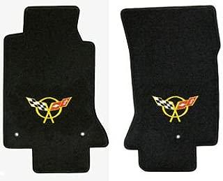 C5 Corvette Classic Loop Black Floor Mats - Crossed Flags Logo in Yellow