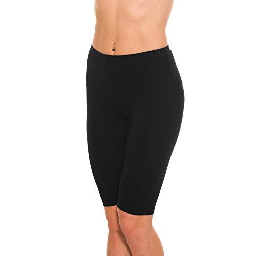 Alkato Damen Leggings 1/2 Radlerhose mit Hohem Bund, Farbe: Schwarz, Größe: 38