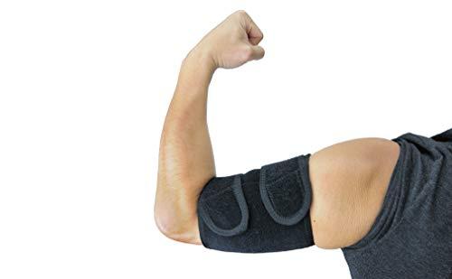 ObboMed MB-1850L Oberarmstütz Bandage, Oberarm Stütze, mit Magneten, Unterstützung für Tennis und Golfer Ellenbogen, Training, Sehnenentzündungen, Arthritis; schwarz - L : 33,0-35,6 cm