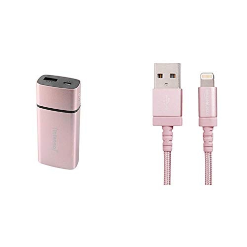 Intenso Powerbank PM5200 externes Ladegerät (für Smartphone/Tablet PC/MP3 Player/Digitalkamera (5200mAh) Metal Finish) rosé & AmazonBasics Verbindungskabel Lightning-auf-USB-A, Nylon, geflochten