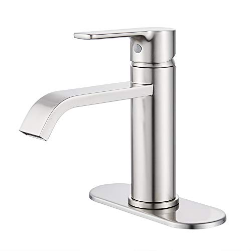 VOTON Brushed Nickel Bathroom Faucet Waterfall Single Handle One Hole Lavatory Sink Faucet with...
