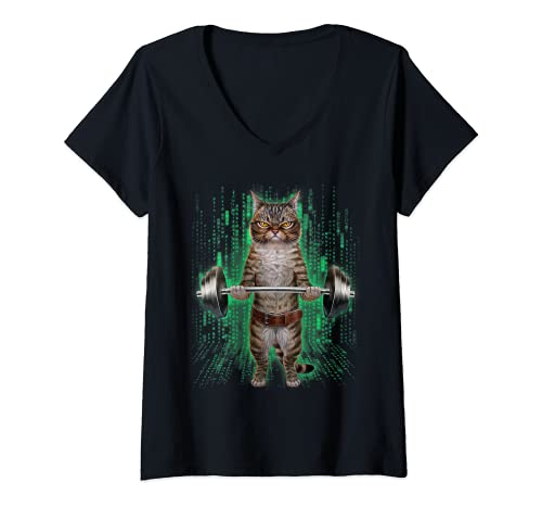 Mujer Levantamiento de pesas de gato atigrado en el gimnasio Camiseta Cuello V