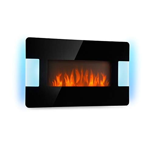 Klarstein Belfort Light & Fire Elektrischer Kamin mit Flammeneffekt - Elektrokamin, E-Kamin, 1000 oder 2000 Watt, Thermostat, Timer, Ambiente-Beleuchtung, Fernbedienung, Wandmontage, schwarz