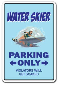 Wasserskifahrer Aufkleber Parken Skifahren Wasserskifahrer Boot Wellenläufer Skier Boater Metallschild 20,3 x 30,5 cm