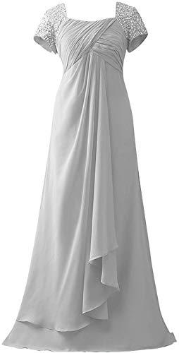Brautmutterkleider Lang A-Linie Empire Chiffon Pailletten Hochzeit Kleider Abendkleider Partykleider 52