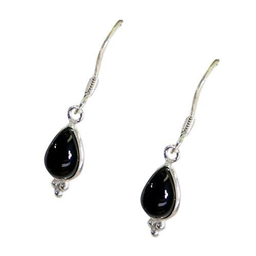 Pendientes de gota de ónix negro natural para mujer con piedra real de plata de ley 925 con forma de pera y gancho largo