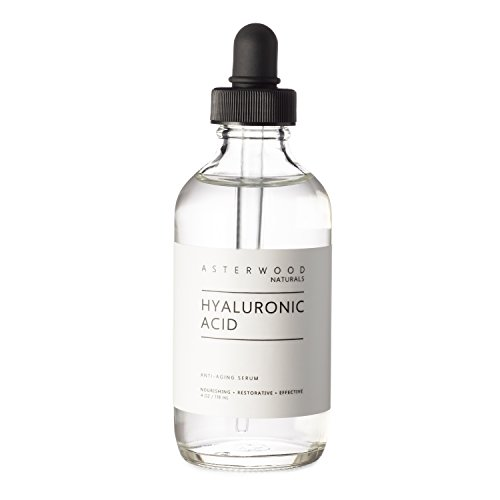 Hyaluronic Acid Serum 4 oz, 100% Pure Organic HA, Anti Aging Anti Wrinkle, Original Face Moisturizer for Dry Skin and Fine Lines, Leaves Skin Full and Plump ASTERWOOD NATURALS Dropper Bottle