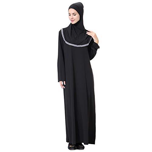 iLPM5 Robe Musulmane Femme Soiree Pas Cher Vintage Élégant 2019 Nouveau Moyen-Orient Arabe Prière Maxi Abaya Robe Caftan Arabe Conservateur Soir Robe(Gris,XL)