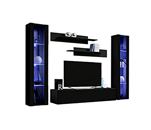 MEBLE FURNITURE & RUGS Wall Mounted Floating Modern Entertainment Center Fly A (Black, B2)