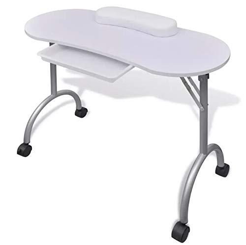Oakome Table de manucure pliable professionnelle pour manucure Nail Art reconstruction poudre collecteur d'aspiration pour esthéticiennes et salons de beauté Noir