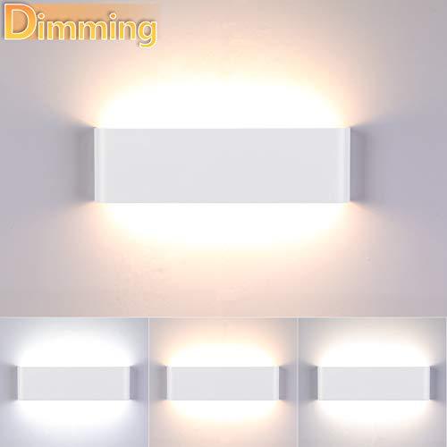 Lightess 16W Wandleuchte Innen Dimmbar LED Modern Treppenhaus Beleuchtung Wandlampe Weiss Dimmen mit Up Down Licht IP44 aus reinem Aluminium für Wohnzimmer Schlafzimmer FlurTreppen usw