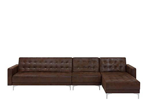 Canapé d'angle Marron Cuir Pas cher Rétro Confort
