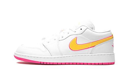 Nike Jungen AIR Jordan 1 Low Edge Glow GS Basketballschuh, White Lemon Venom Pink Blast, 36.5 EU