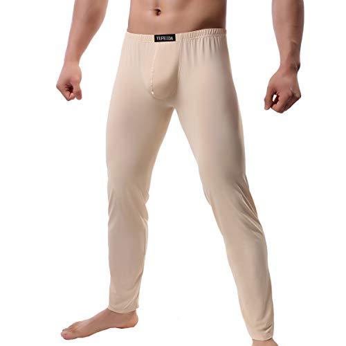 YUFEIDA Men's Compression Half Tights Leggings Sheer Swimwear Shorts Trunks Pant (L, Thicker Beige)