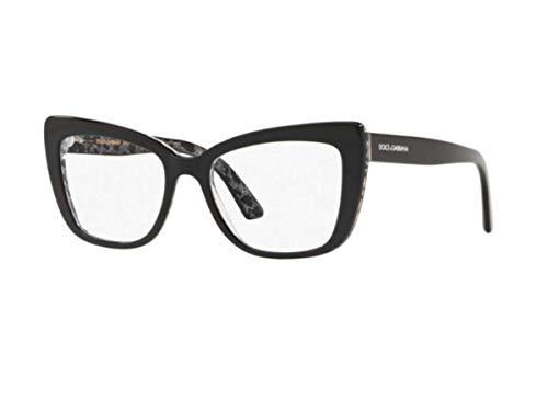 Dolce & Gabbana DG3308 Brillen, Schwarz auf Leo Glitter, 53mm
