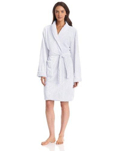 Seven Apparel Hotel Spa Collection Popcorn Jacquard Bath Robe, One Size, White
