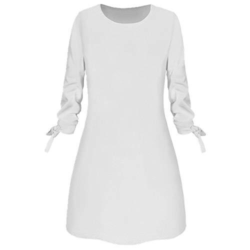 Las mujeres sólido arco elegante Straigth vestido primavera suelta mini vestidos manga arco cómodo más tamaño
