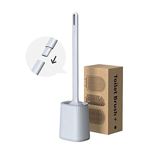 Rwest X Toilet Brush Silicone, 2021 Upgrade Toilet Brush with Holder Wall Mounting & Standing Silicone Toilet Brush Set, Double-Sided Cleaning Brush Head, Long Handle Toilet Brush and Container
