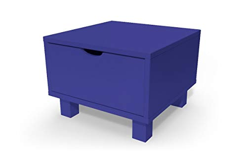 ABC MEUBLES - Chevet Cube tiroir Bois, Couleur: Bleu foncé