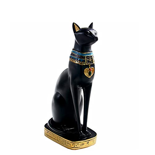 Estatua de gato de faraón egipcio, figura de gato egipcio, estatua decorativa de gato antiguo Egipto, adorno de resina para el hogar estante de mesa regalos