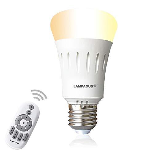 Lampaous® Dimmbar E27 LED Lampe Birne 9W, ersetzt 60W Halogenlampe 270° Intelligente Steuerbar Leuchte mit 2,4G Wifi Fernbedienung, Farbtemperatur von 2700K bis 6500K Warmweiß Weiß Kaltweiß