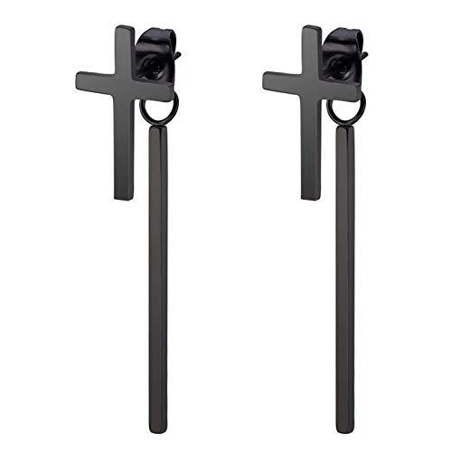 TIANYOU Novedad Pendiente de acero inoxidable para hombres y mujeres Pendientes de botón de cruz lisos/Negro