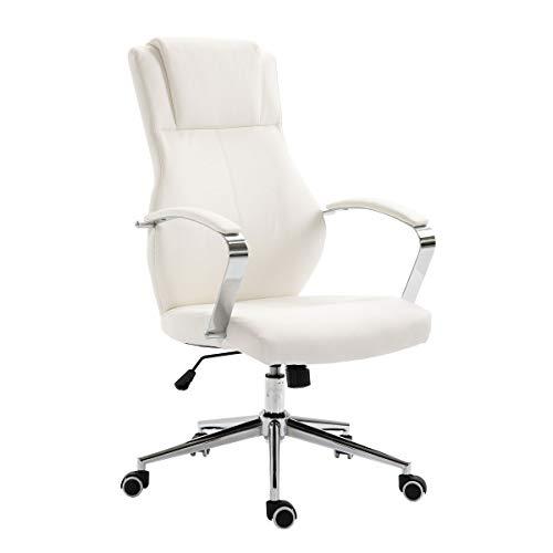 SVITA Bürostuhl Drehstuhl hochwertig verchromt Armlehnen Höhenverstellung Racing-Stuhl Chefsessel (Weiß, Lederimitat)