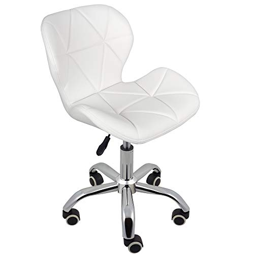 Charles Jacobs Dining/Office Swivel Chair with Chrome Legs with Wheels and Lift - Pure White