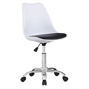 Beat Vintage-19 Silla giratoria estilo nórdico para estudio despacho o escritorio juvenil con ruedas, ideal para teletrabajo.Silla de oficina giratoria con gas y asiento blanco