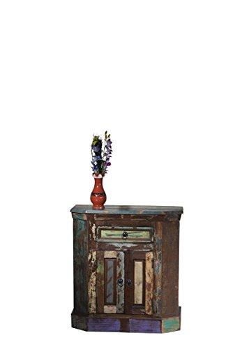 Sit Möbel Riverboat 9154-98 Kommode, eine Schublade, 2 Holztüren, recyceltes Altholz, bunt lackiert, 70 x 40 x 76 cm