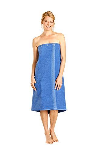 Betz Damen Saunakilt mit Knöpfen 100% Baumwoll-Frottee Farbe blau